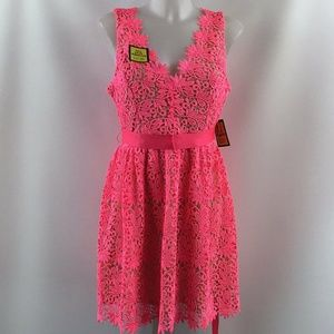 Rubber Ducky Hot Pink Lace Dress Size Large